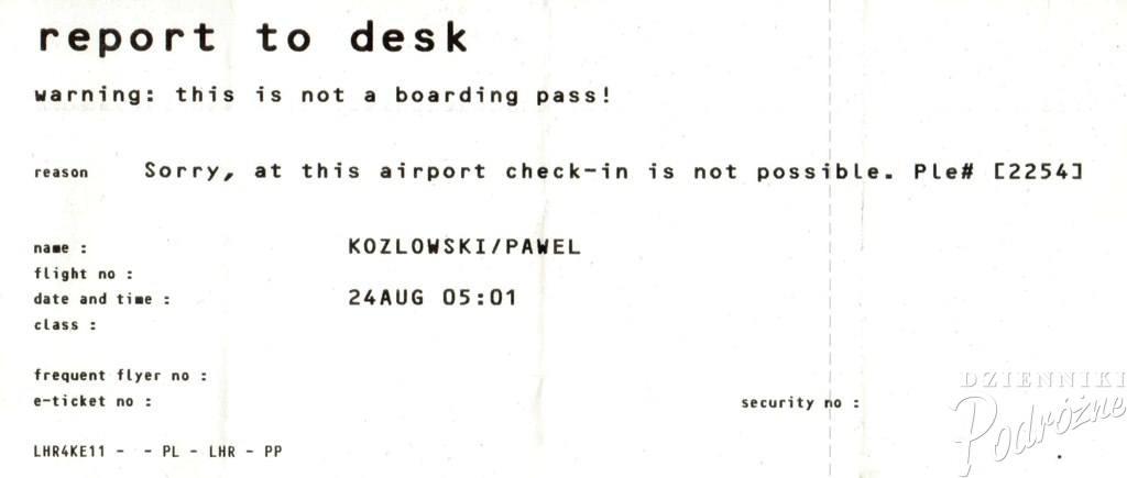 MSPL - czyli Moje Standardowe Problemy Lotniskowe (pamiątka z London Heathrow)